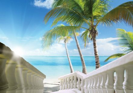 Easy install - wallpaper mural Beach Tropical Scene 828